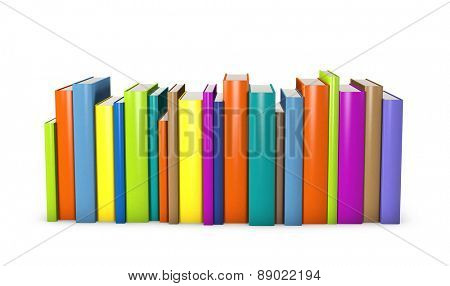 Colorful books standing in a row