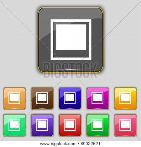 Photo Frame Template Icon Sign. Set With Eleven Colored Buttons For Your Site. Vector