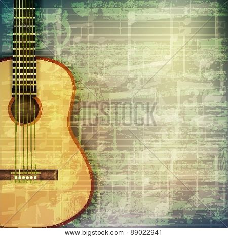 Abstract Grunge Music Background With Acoustic Guitar