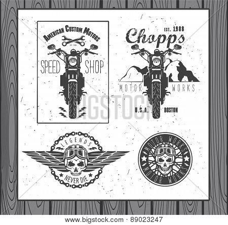 Set of vintage motorcycle labels
