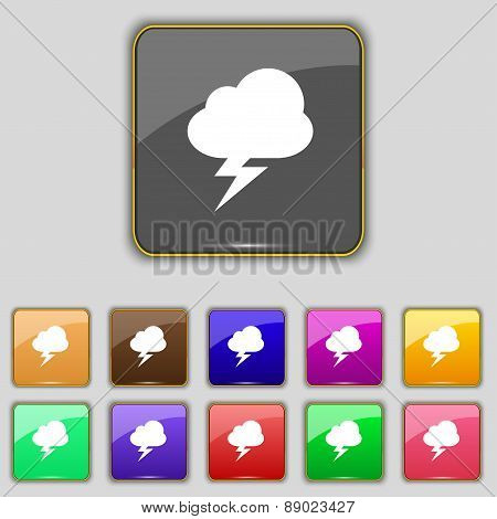 Storm Icon Sign. Set With Eleven Colored Buttons For Your Site. Vector