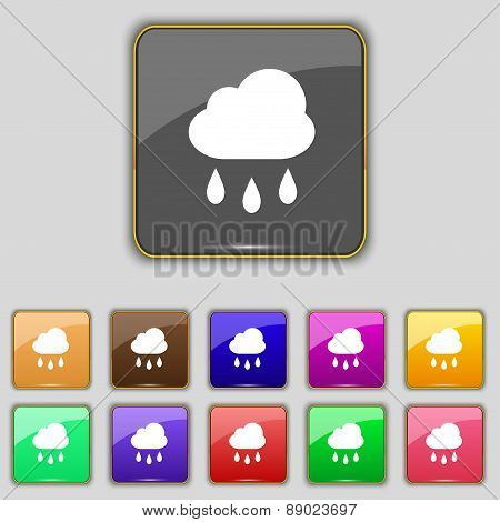 Weather Rain Icon Sign. Set With Eleven Colored Buttons For Your Site. Vector
