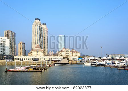 Building And Boat At Seashore In Dalian