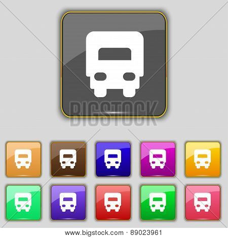 Delivery Truck Icon Sign. Set With Eleven Colored Buttons For Your Site. Vector