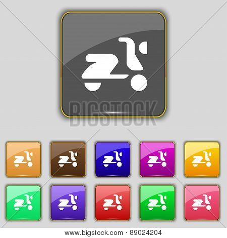 Scooter, Bike Icon Sign. Set With Eleven Colored Buttons For Your Site. Vector