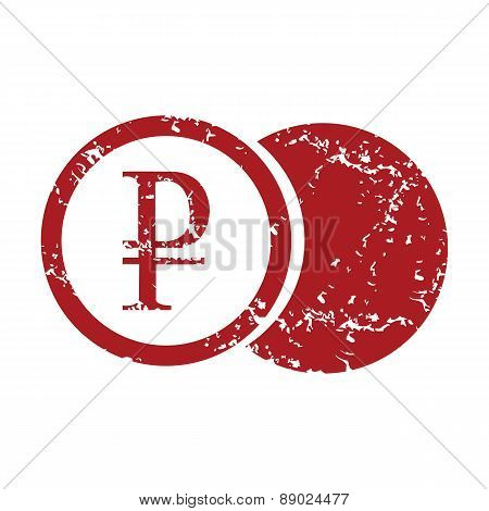 Red grunge rouble coin logo