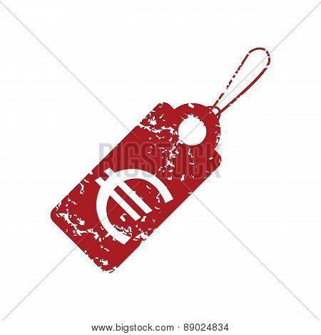 Red grunge euro tag logo