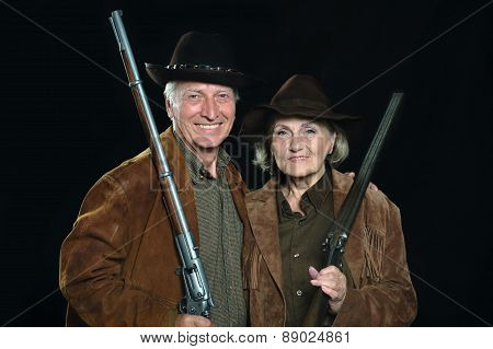 Happy Gunslingers in western