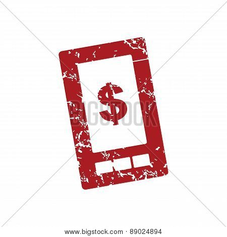 Red grunge dollar phone logo