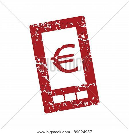 Red grunge euro phone logo