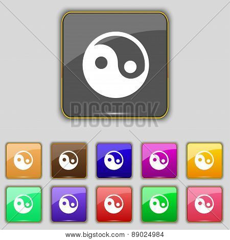 Ying Yang Icon Sign. Set With Eleven Colored Buttons For Your Site. Vector