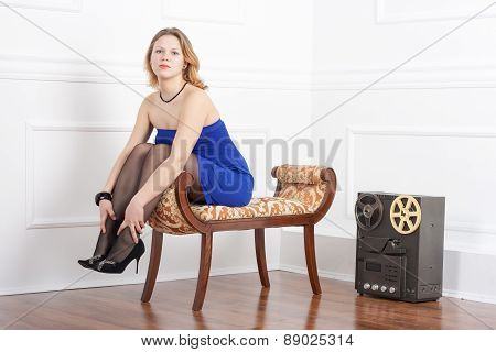 Young Beautiful Girl Sitting The Couch
