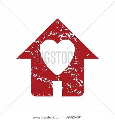 Red grunge love house logo