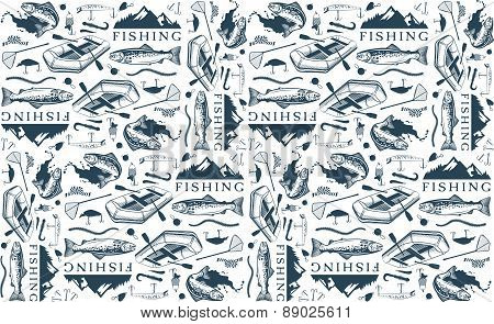 Pattern with trout fishing emblems, labels and design elements