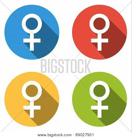 Collection Of 4 Isolated Flat Colorful Buttons (icons) For Female (woman)