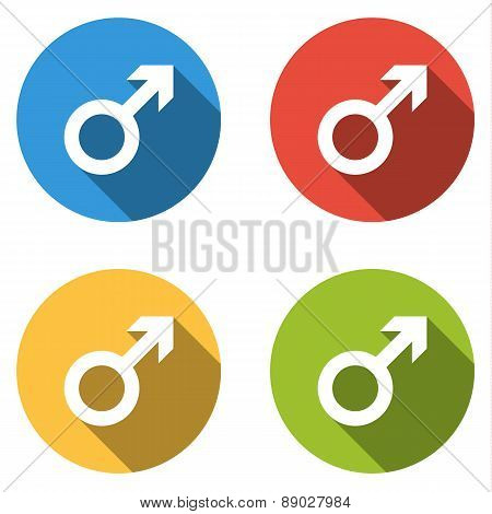 Collection Of 4 Isolated Flat  Buttons (icons) For Male (man)