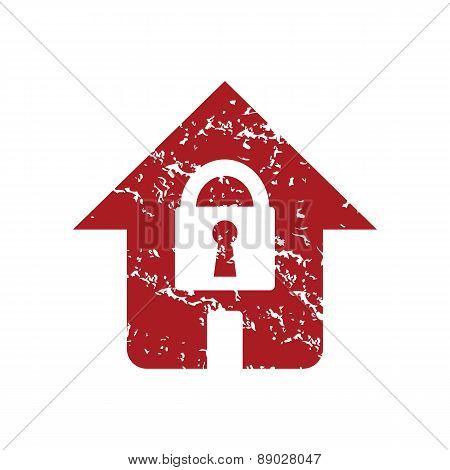 Red grunge lock house logo