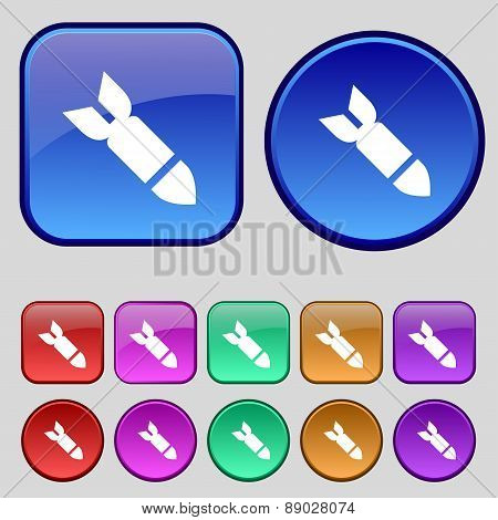 Missile,rocket Weapon Icon Sign. A Set Of Twelve Vintage Buttons For Your Design. Vector