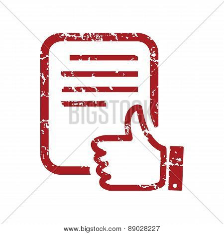 Red grunge like document logo