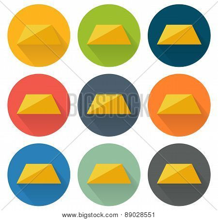 Collection Of 9 Isolated Flat Icons For Gold Brick