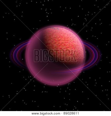 Illustration Of Fantasy Planet With A Ring