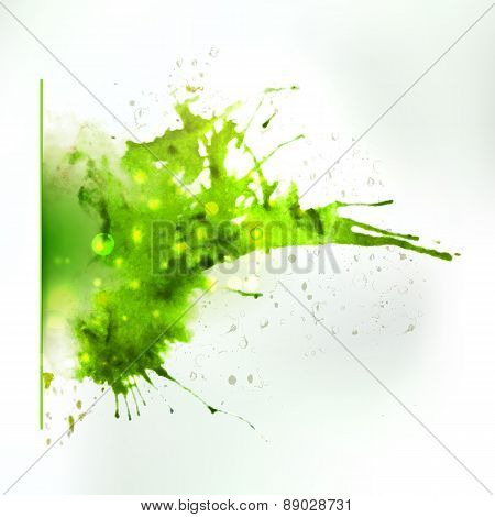 Abstract Ink Left Oriented Green Colors Splash