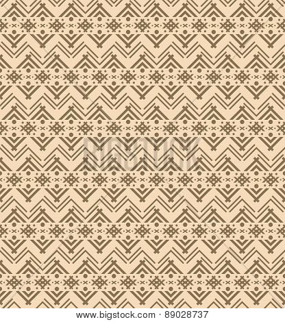 Seamless Ethnic Pattern With Figures Like Native Americans Tipi