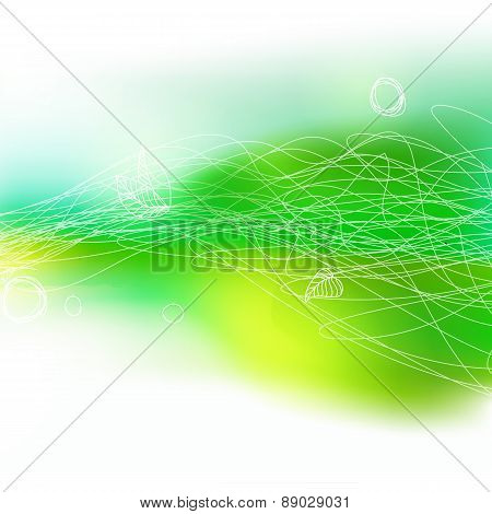 Summer Decorative Drawing Green Field With Lines