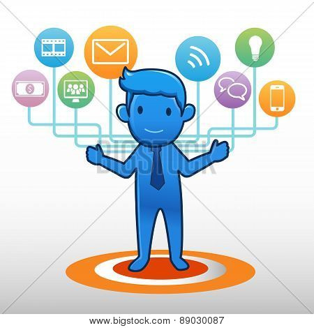 Businessman and social icon group