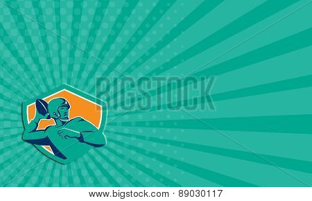 Business Card American Football Quarterback Qb Shield Retro