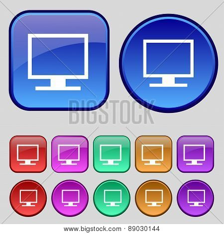 Computer Widescreen Monitor Icon Sign. A Set Of Twelve Vintage Buttons For Your Design. Vector
