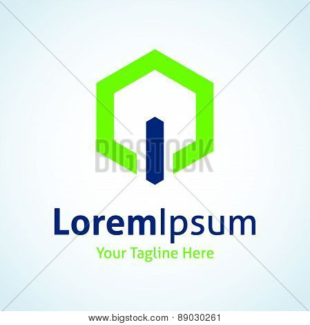 Green energy power button on light vector logo icon