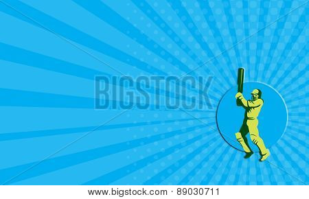 Business Card Cricket Player Batsman Batting Circle Retro