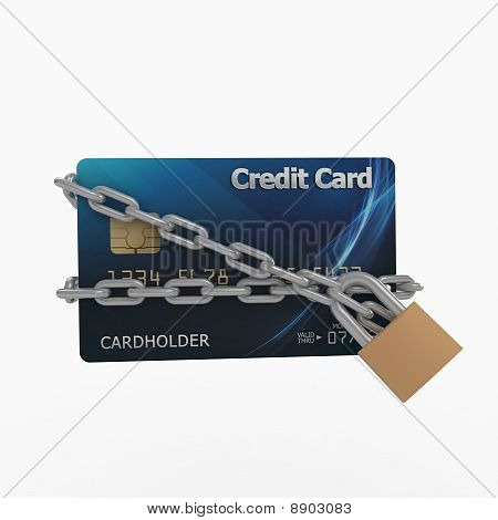 3D Credit Card With Chains And Pad Lock