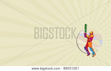 Business Card Cricket Player Batsman Batting Low Polygon