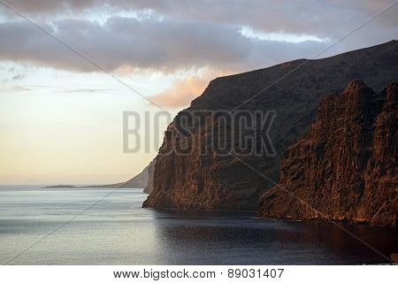 Gigantes Cliffs View From Los Gigantes Town, Tenerife, Canary.