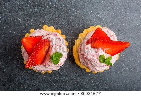 Small Biscuits With Strawberries And Sweet Cream