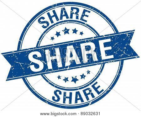 Share Grunge Retro Blue Isolated Ribbon Stamp