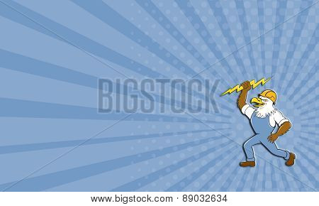 Business Card Bald Eagle Electrician Lightning Bolt Standing Cartoon