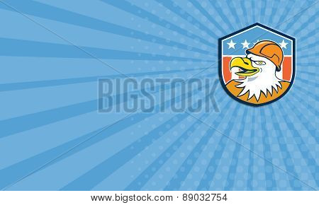 Business Card Bald Eagle Construction Worker Head Flag Cartoon