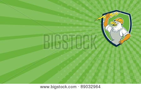 Business Card Bald Eagle Electrician Lightning Bolt Shield Cartoon
