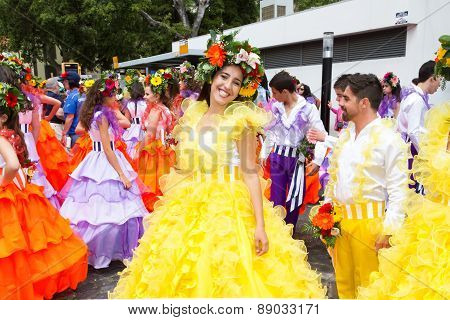 FUNCHAL MADEIRA - APRIL 20 2015: A beautiful woman smiles as she she prepares to participate in the