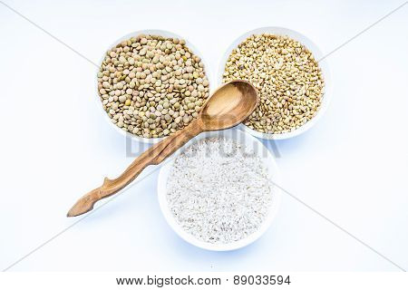 Cereals Rice, Lentil, Wheat And Wooden Spoon