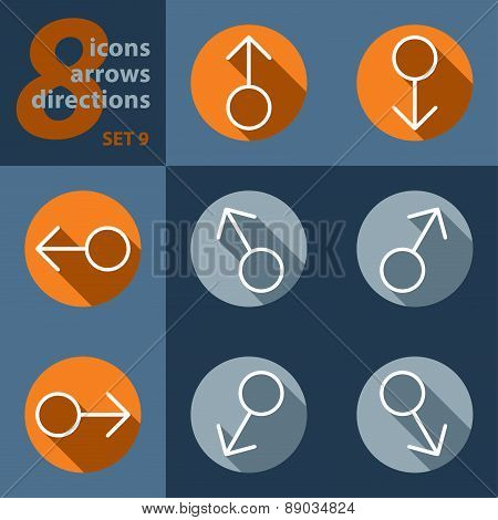 Set Of Eight Icons With Arrows In All Directions
