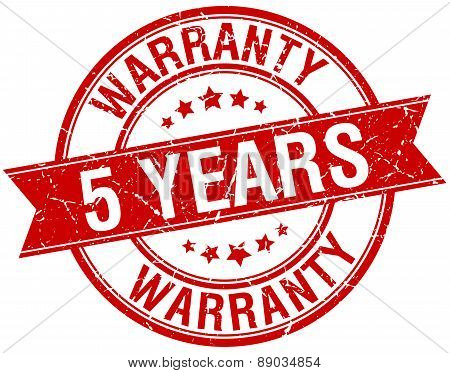 5 Years Warranty Grunge Retro Red Isolated Ribbon Stamp