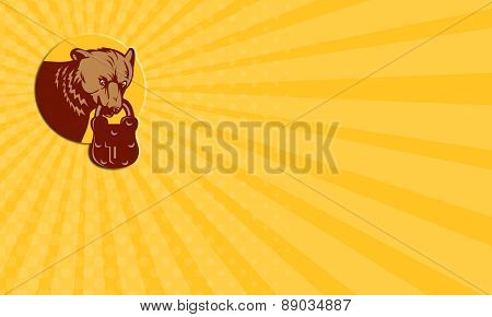Business Card Grizzly Bear Biting Padlock Circle Retro