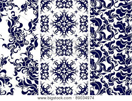 Set of 3 rich seamless patterns in blue. Vector illustration for your design.