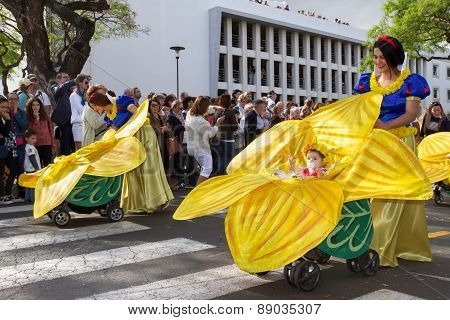 FUNCHAL MADEIRA - APRIL 20 2015: Mothers with babies in prams at the Madeira Flower Festival Funchal