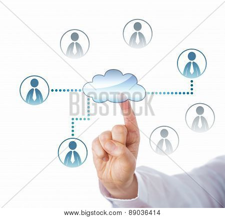 Pointing At Cloud Icon Linked To Office Workers