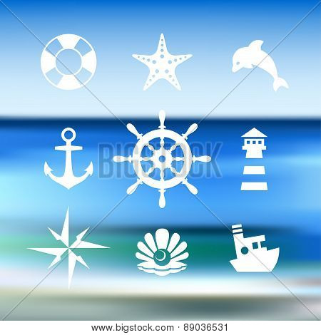 Sea icon collection isolated on a blue water background